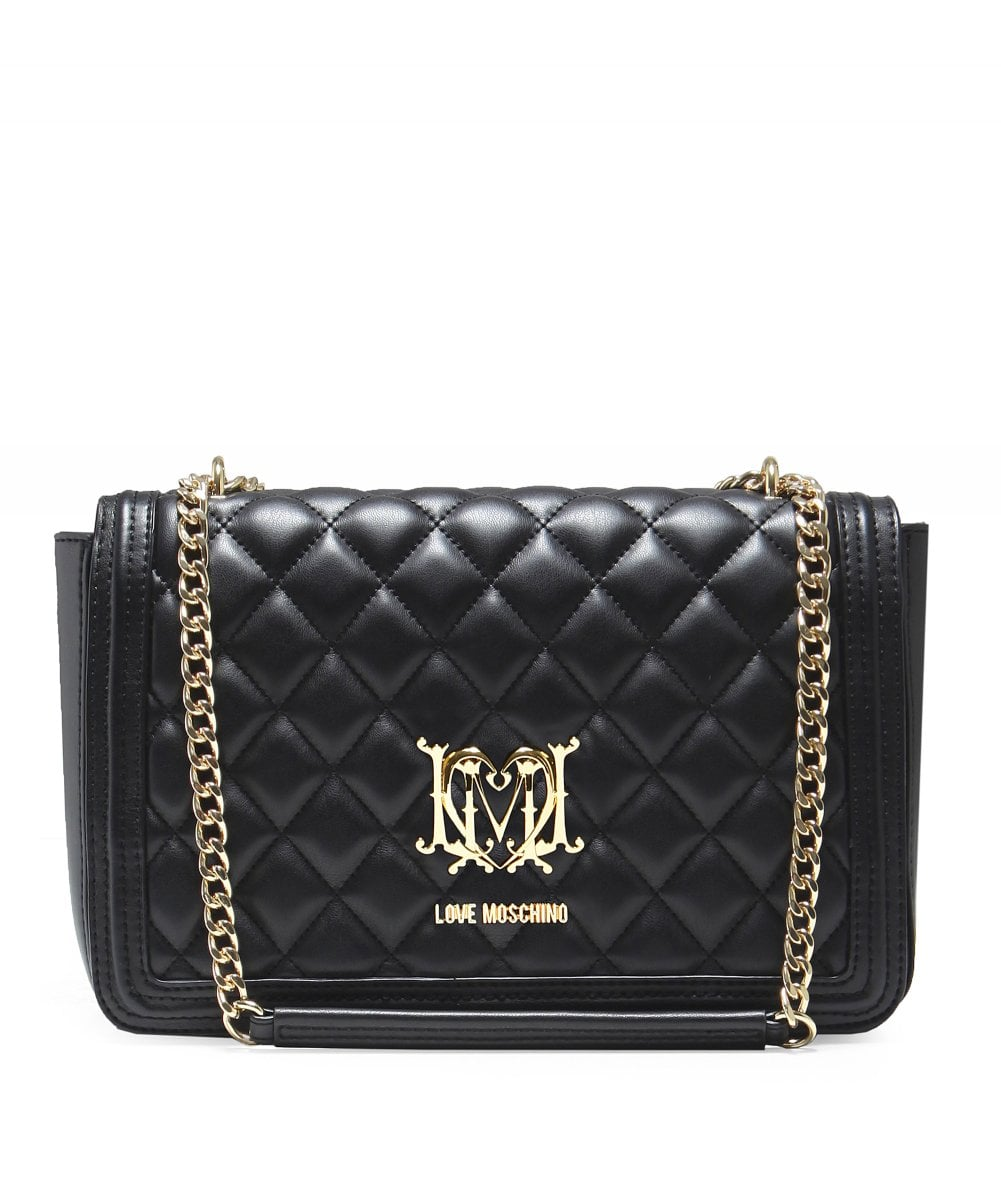 Black Quilted Chain Shoulder Bag