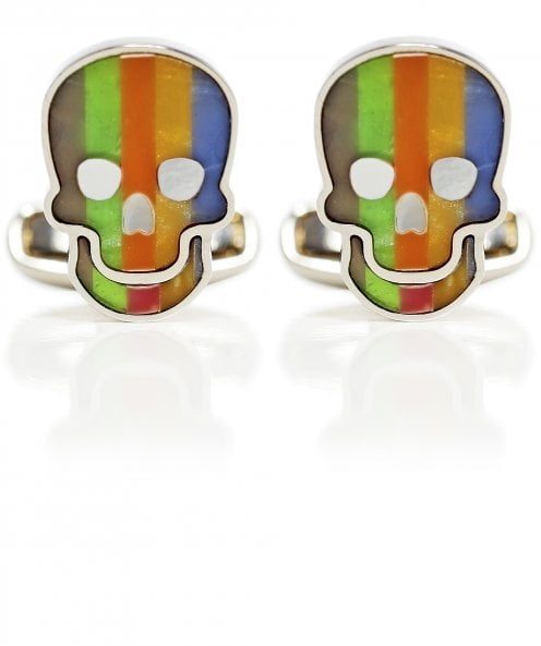 Paul Smith Striped Skull Mother-of-Pearl Cufflinks