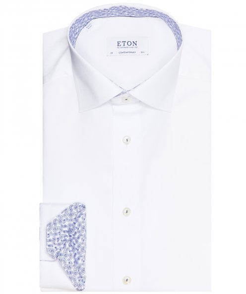 Eton Contemporary Fit Paisley Trim Shirt