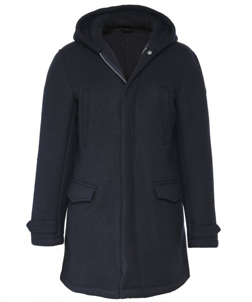 Armani Wool Blend Hooded Trench Coat