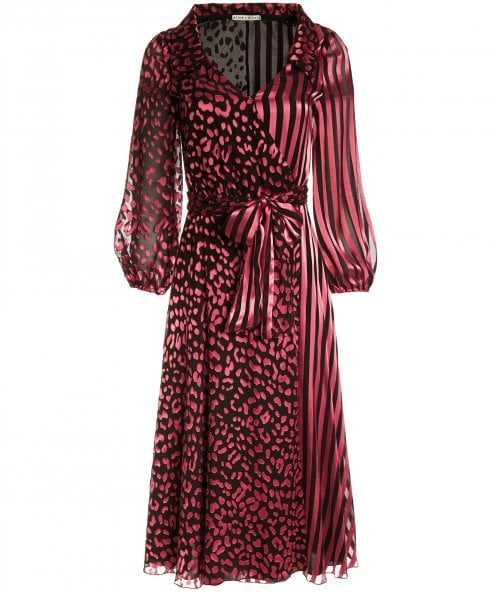 Alice and Olivia Silk Blend Abigail Wrap Dress