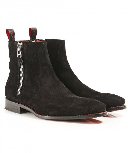 Jeffery-West Suede Vamp Double Zip Boots