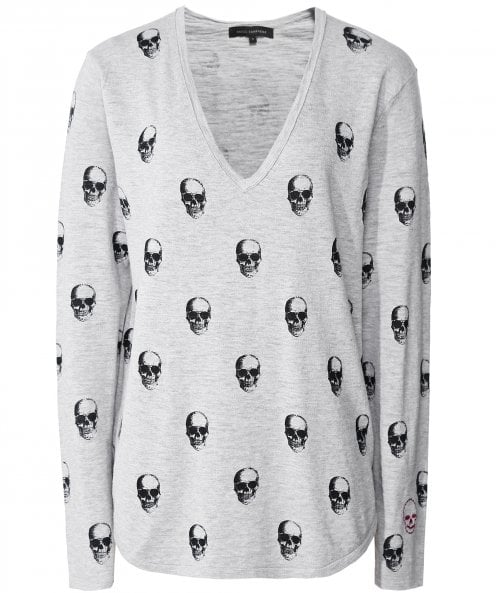 360 Cashmere Aya V-Neck Skull Top