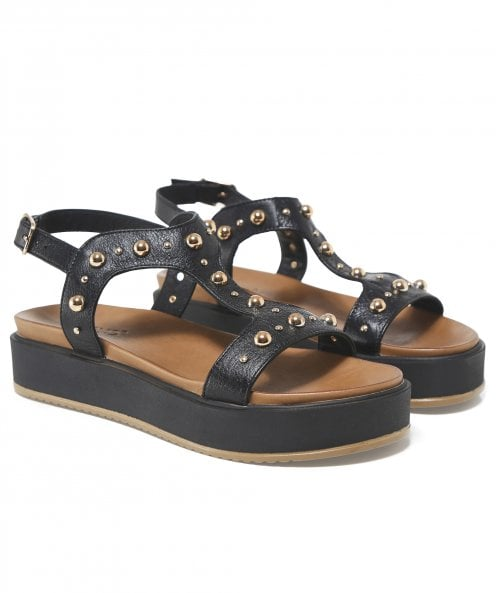 Inuovo Leather T-Bar Studded Sandals