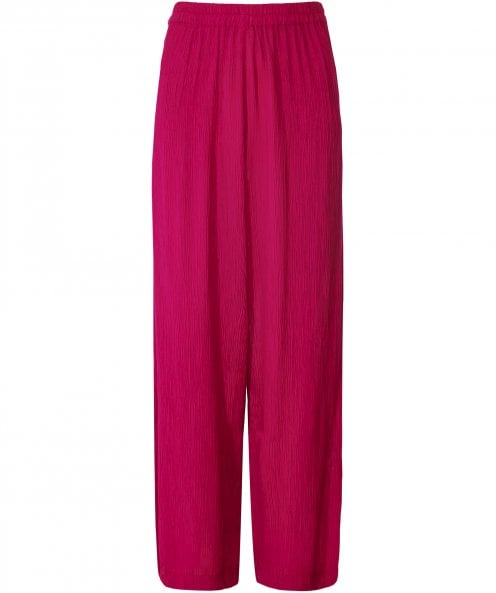 Grizas Silk Blend Crinkled Wide Leg Trousers