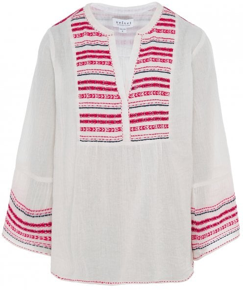 Velvet by Graham and Spencer Zaley Embroidered Peasant Top