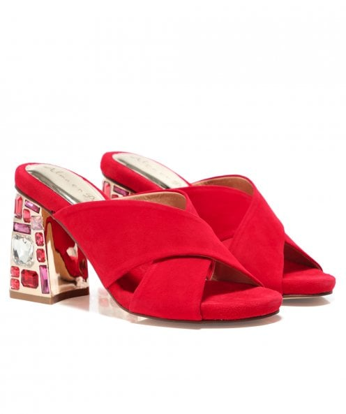 Alma en Pena Crossover Suede Mules with Gemstone Heel