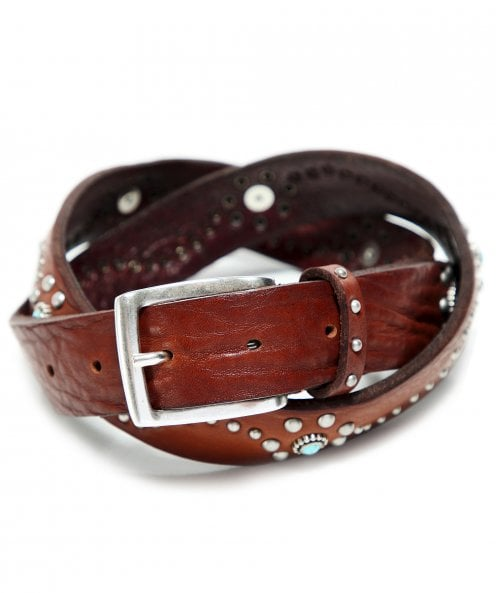 Gavazzeni Turquoise Studded Leather Belt