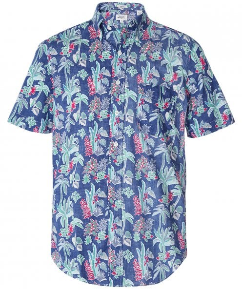 Hartford Slim Fit Tropical Print Sander Shirt