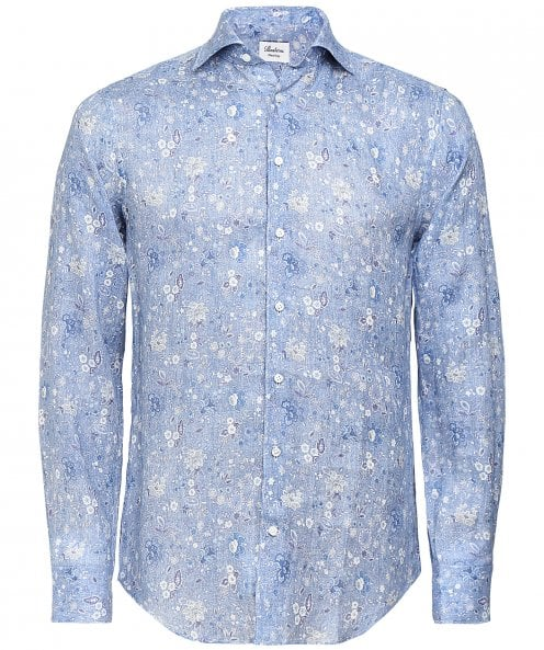 Stenstroms Fitted Body Linen Floral Shirt
