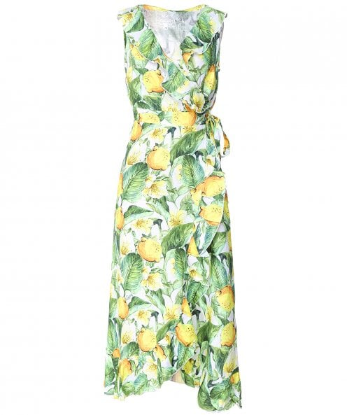Luisa Positano Sinfony Lemon Print Wrap Dress
