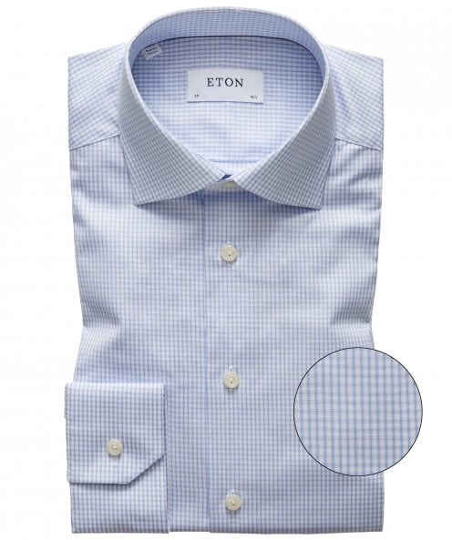 Eton Contemporary Fit Lyocell Blend Check Shirt