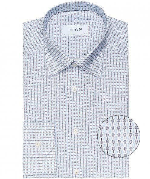 Eton Slim Fit Racquet Print Shirt