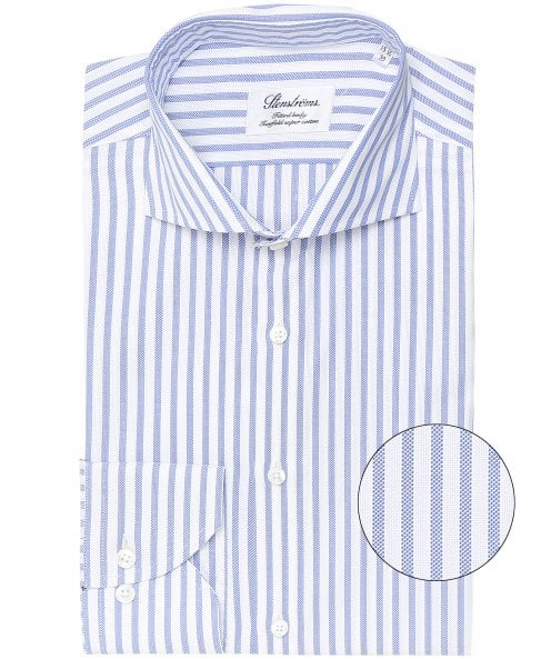 Stenstroms Fitted Body Pique Striped Shirt
