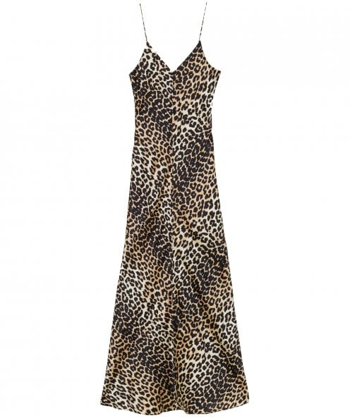 Ganni Silk Blakely Leopard Print Slip Dress