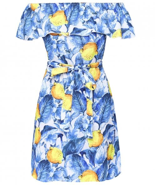 Luisa Positano Bacio Lemon Print Off Shoulder Dress