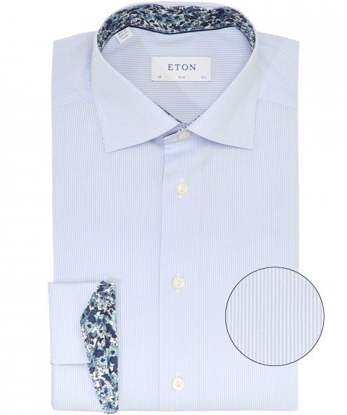 Eton Slim Fit Floral Trim Striped Shirt