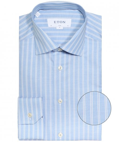 Eton Slim Fit Linen Blend Striped Shirt