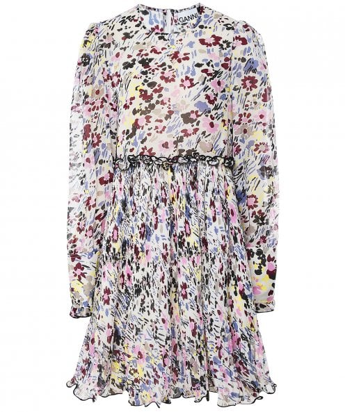 Ganni Pleated Floral Georgette Dress