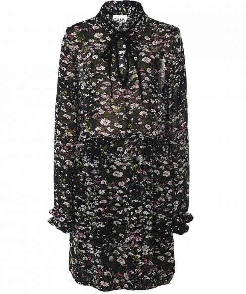 Ganni Floral Print Georgette Dress