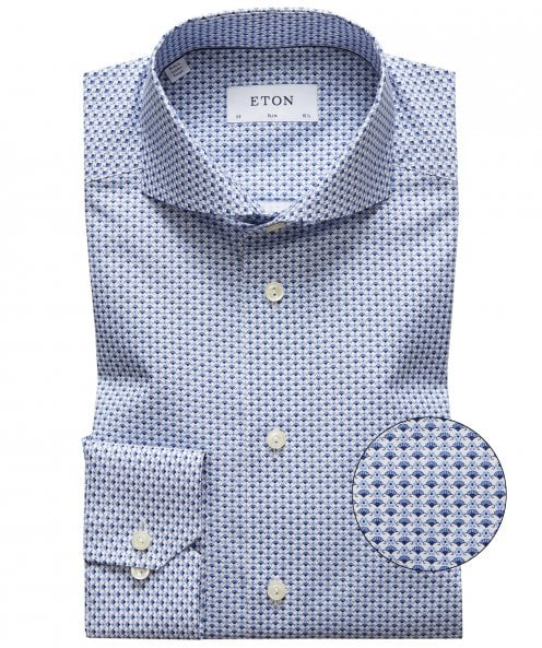 Eton Slim Fit Geometric Poplin Shirt