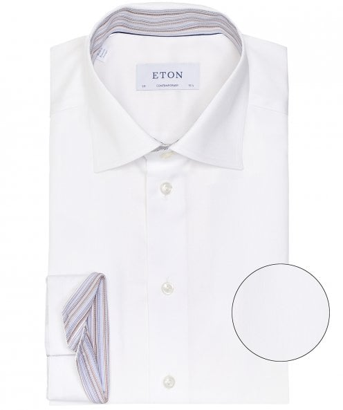 Eton Contemporary Fit Striped Trim Shirt