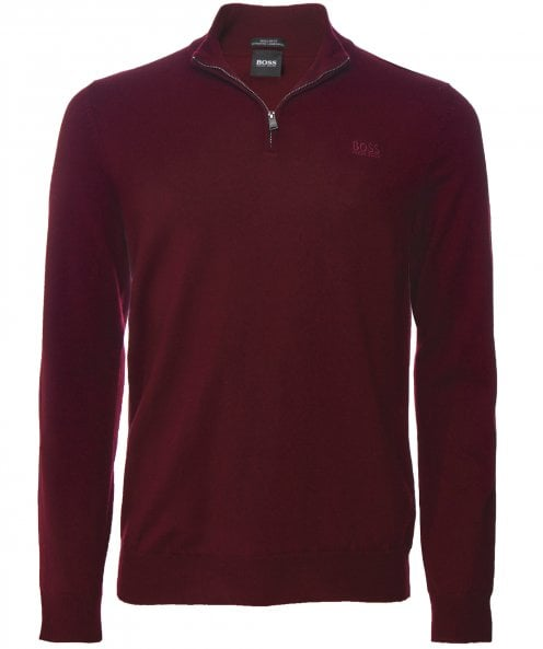 BOSS Regular Fit Lambswool Half-Zip Barlo Jumper
