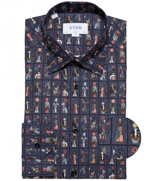 Eton Slim Fit Egyptian Motif Shirt
