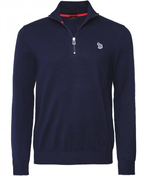 Paul Smith Merino Wool Blend Half-Zip Zebra Jumper
