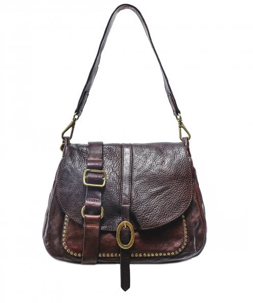 Campomaggi Medium Leather Studded Shoulder Bag