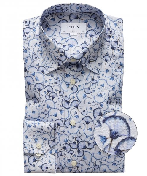 Eton Slim Fit Dandelion Clock Shirt