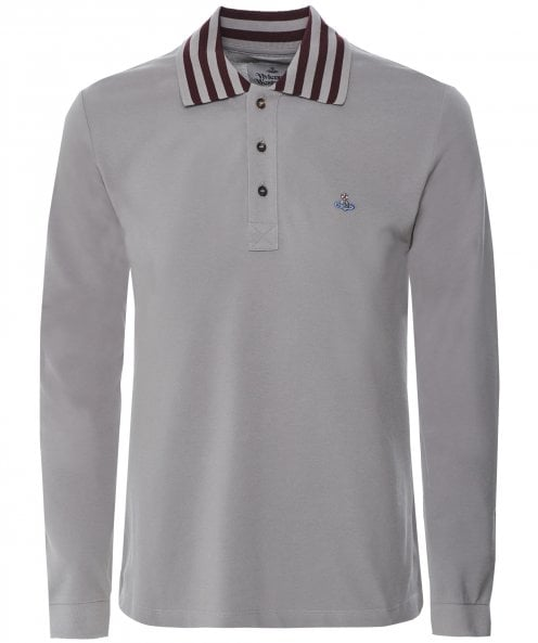 Vivienne Westwood Man Long Sleeve Striped Collar Polo Shirt