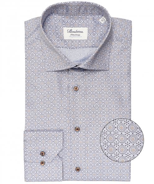 Stenstroms Fitted Body Stretch Geometric Print Shirt
