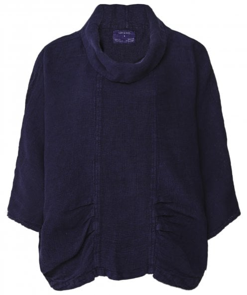 Grizas Washed Linen Cowl Neck Top