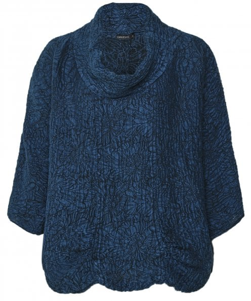 Grizas Embossed Linen and Silk Cowl Neck Top
