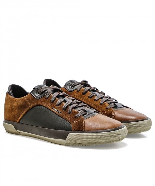 Geox Waxed Leather & Suede Kaven Trainers
