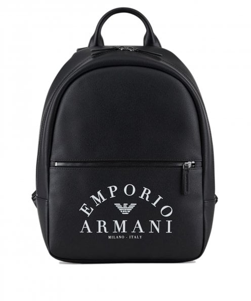 Armani Faux Leather Logo Backpack