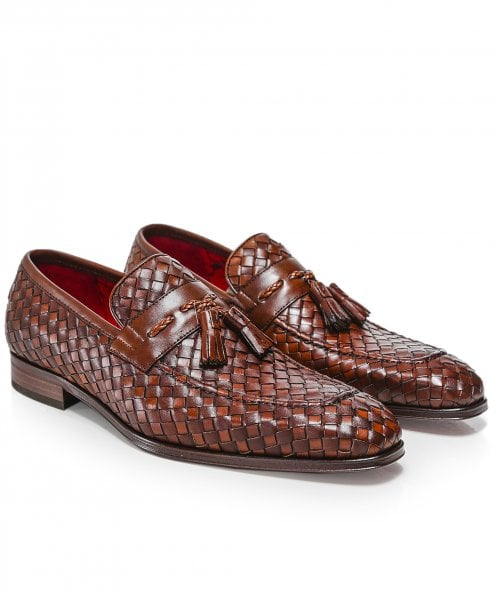 Jeffery-West Woven Leather Soprano Tassel Loafers