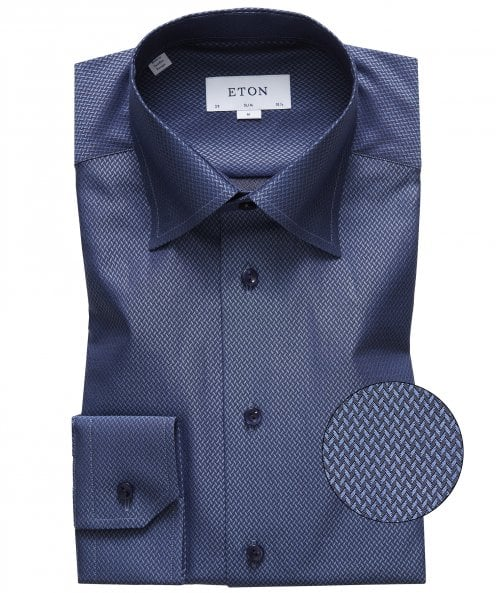 Eton Slim Fit Chevron Print Shirt