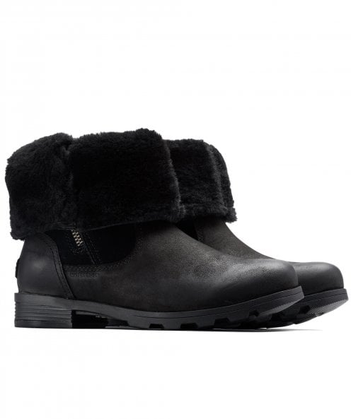 Sorel Leather Emelie Foldover Faux Shearling Boots