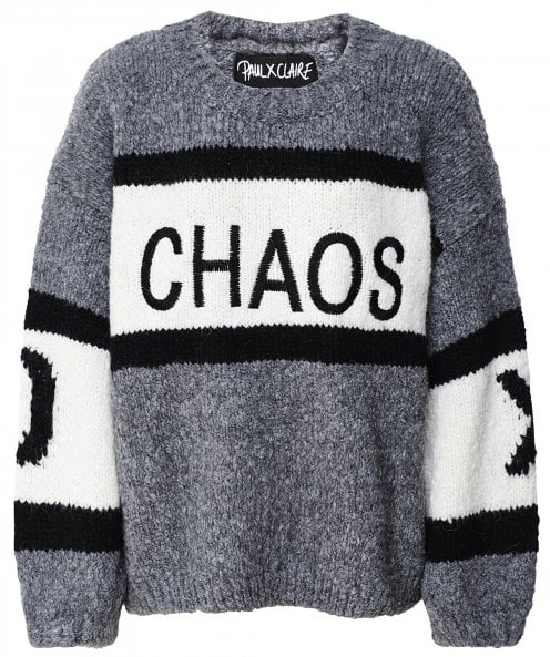 Paul X Claire Oversized Chaos Slogan Jumper