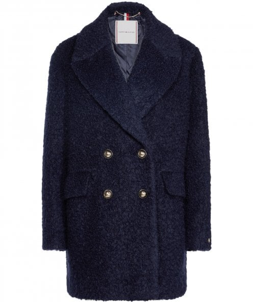 Tommy Hilfiger Phoebe Bouclé Finish Wool Blend Coat