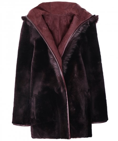 Dom Goor Reversible Hooded Shearling Coat