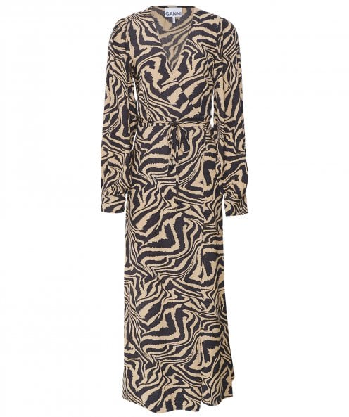 Ganni Zebra Print Crepe Wrap Dress