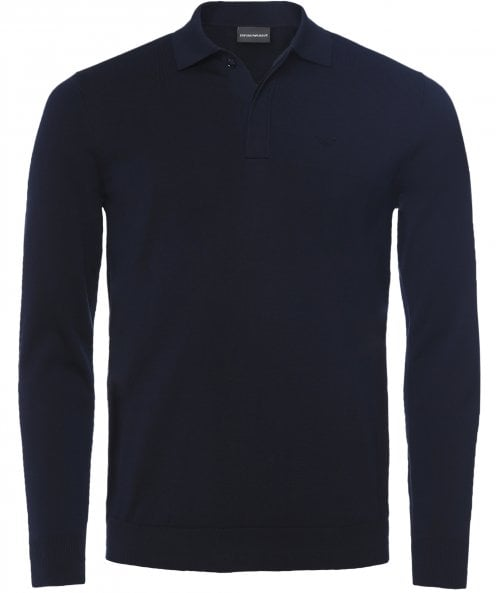 Armani Knitted Cotton Long Sleeve Polo Shirt