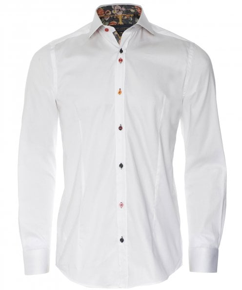 Guide London Slim Fit Floral Trim Shirt