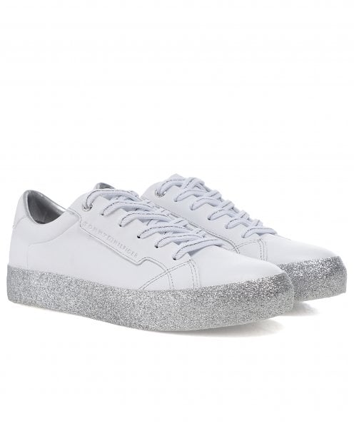 Tommy Hilfiger Leather Glitter Foxing Dress Trainers