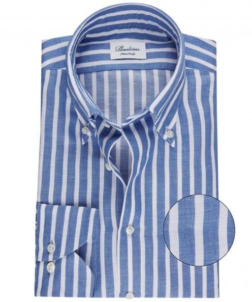 Stenstroms Fitted Body Cotton Linen Striped Shirt