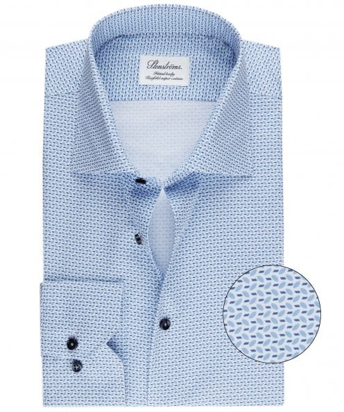 Stenstroms Fitted Body Leaf Print Shirt