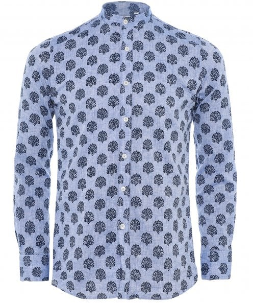 Altemflower Cotton Linen Granddad Print Shirt